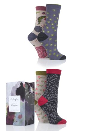 Ladies 4 Pair Thought Floral Bamboo and Organic Cotton Socks Gift Box