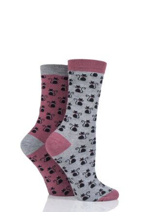 Ladies 2 Pair Thought Black Cat Bamboo and Organic Cotton Socks Gift Bag