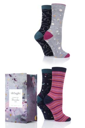 Ladies 4 Pair Thought Night Sky Bamboo and Organic Cotton Socks Gift Box