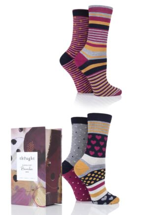 Ladies 4 Pair Thought Classic Bamboo and Organic Cotton Socks Gift Box