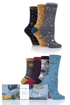 Ladies 7 Pair Thought Moods of the Week Bamboo and Organic Cotton Socks Gift Box