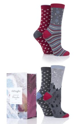 Ladies 4 Pair Thought Christmas Night Bamboo and Organic Cotton Socks Gift Box