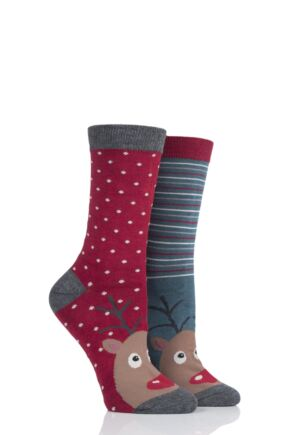 Ladies 2 Pair Thought Reindeer Bamboo and Organic Cotton Socks Gift Bag