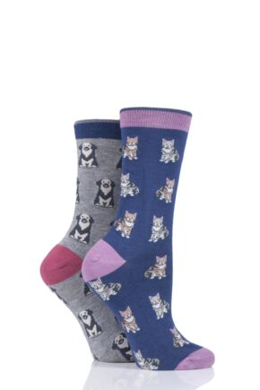 Ladies 2 Pair Thought Cat and Dog Bamboo and Organic Cotton Socks