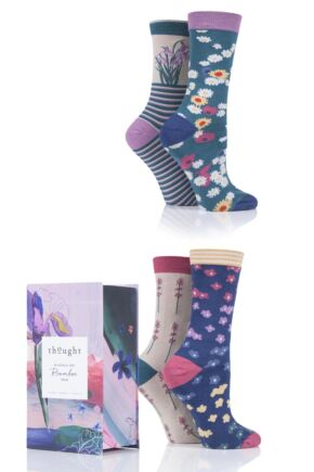 Ladies 4 Pair Thought Spring Flowers Bamboo and Organic Cotton Gift Boxed Socks