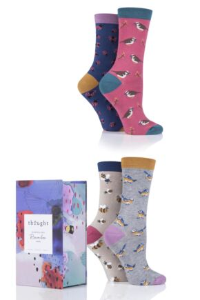 Ladies 4 Pair Thought Birds and Bees Bamboo and Organic Cotton Gift Boxed Socks