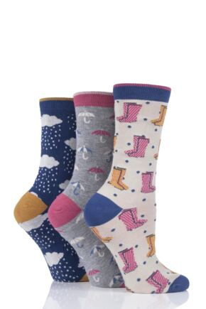 Ladies 3 Pair Thought Rainy Day Bamboo and Organic Cotton Socks