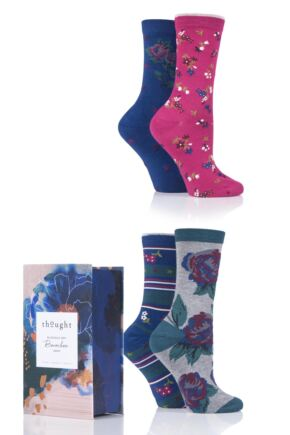 Ladies 4 Pair Thought Rosie Flowers Bamboo and Organic Cotton Gift Boxed Socks