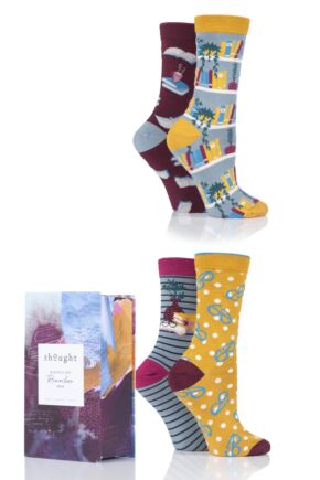 Ladies 4 Pair Thought The Reader Bamboo and Organic Cotton Gift Boxed Socks