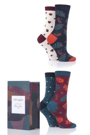 Ladies 4 Pair Thought Autumn Leaves Bamboo and Organic Cotton Gift Boxed Socks