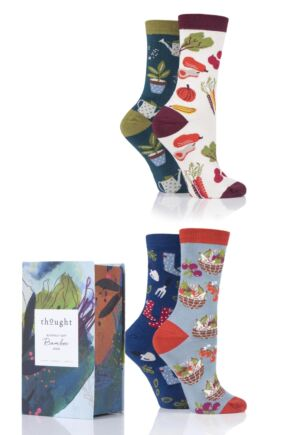 Ladies 4 Pair Thought Allotment Bamboo and Organic Cotton Gift Boxed Socks