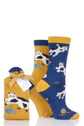 Ladies 2 Pair Thought Kitty Cat Bamboo and Organic Cotton Socks Gift Bag