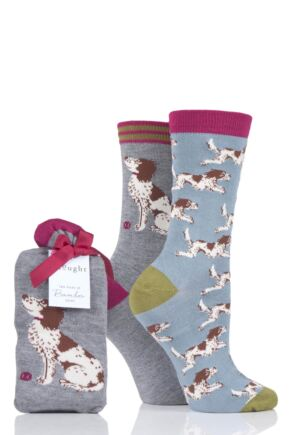 Ladies 2 Pair Thought Springer Dog Bamboo and Organic Cotton Socks Gift Bag