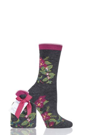Ladies 1 Pair Thought Blooms Bamboo and Organic Cotton Socks Gift Bag