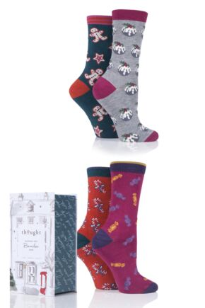 Ladies 4 Pair Thought Christmas Treats Bamboo and Organic Cotton Gift Boxed Socks