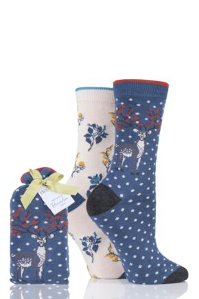Ladies 2 Pair Thought Winter Deer Bamboo and Organic Cotton Socks Gift Bag