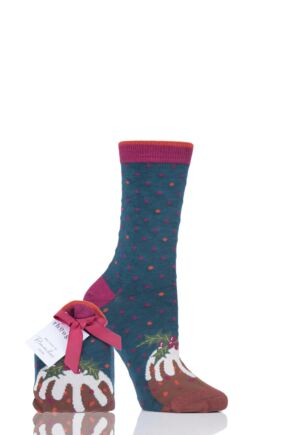 Ladies 1 Pair Thought Figgy Pudding Bamboo and Organic Cotton Socks Gift Bag