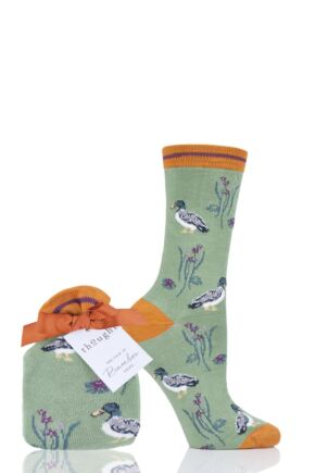 Ladies 1 Pair Thought Wild Duck Bamboo and Organic Cotton Gift Bagged Socks Green 4-7 Ladies