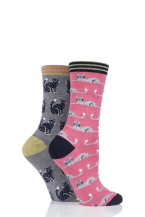 Ladies 2 Pair Thought Feline Cats Bamboo and Organic Cotton Socks