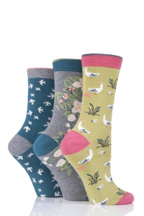 Ladies 3 Pair Thought Nature Bamboo and Organic Cotton Socks
