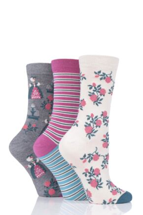 Ladies 3 Pair Thought Matthia Floral Bamboo and Organic Cotton Socks