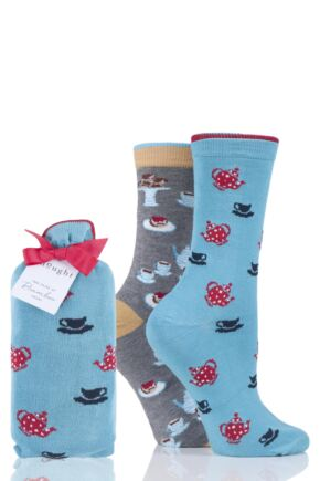 Ladies 2 Pair Thought Afternoon Tea Bamboo and Organic Cotton Gift Bagged Socks