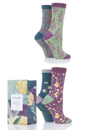 Ladies 4 Pair Thought Wildflowers Bamboo and Organic Cotton Gift Boxed Socks