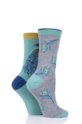 Ladies 2 Pair Thought Pavone Bamboo and Organic Cotton Socks