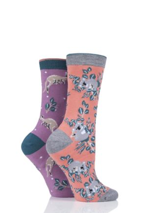 Ladies 2 Pair Thought Koala and Kangaroo Bamboo and Organic Cotton Socks