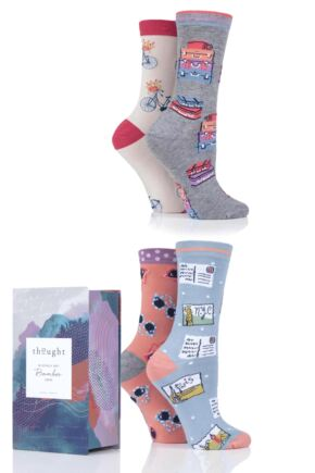 Ladies 4 Pair Thought Vacation Bamboo and Organic Cotton Gift Boxed Socks