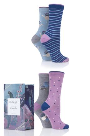 Ladies 4 Pair Thought Lavender Bamboo and Organic Cotton Gift Boxed Socks