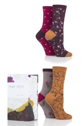 Ladies 4 Pair Thought Botanic Floral Patterned Bamboo and Organic Cotton Gift Boxed Socks
