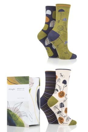 Ladies 4 Pair Thought Sybil Patterned Bamboo and Organic Cotton Gift Boxed Socks