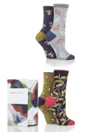 Ladies 4 Pair Thought Wildwood Patterned Bamboo and Organic Cotton Gift Boxed Socks