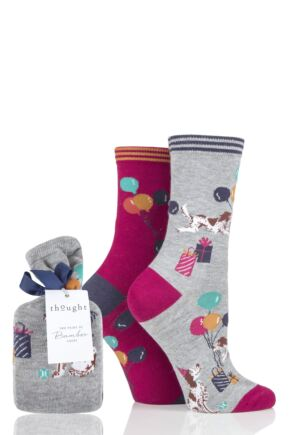 Ladies 2 Pair Thought Eve Party Dog Bamboo and Organic Cotton Gift Bagged Socks