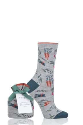 Ladies 1 Pair Thought Agatha Veg Bamboo and Organic Cotton Gift Bagged Socks
