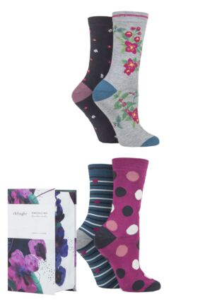 Ladies 4 Pair Thought Mariot Patterned Bamboo and Organic Cotton Gift Boxed Socks