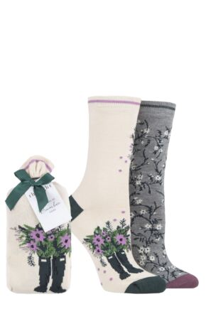 Ladies 2 Pair Thought Bess Bamboo and Organic Cotton Gift Bagged Socks