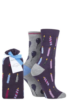Ladies 2 Pair Thought Party Bamboo and Organic Cotton Gift Bagged Socks