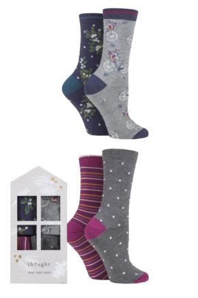 Ladies 4 Pair Thought Katherine Patterned Bamboo and Organic Cotton Gift Boxed Socks