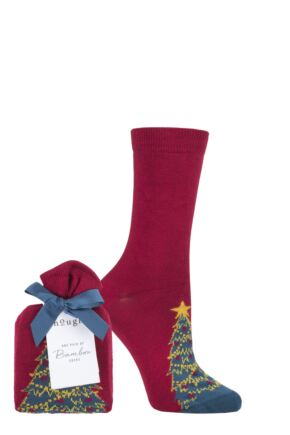 Ladies 1 Pair Thought Eramus Christmas Tree Bamboo and Organic Cotton Gift Bagged Socks