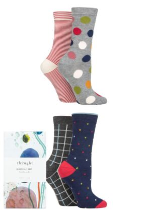Ladies 4 Pair Thought Dorah Classic Bamboo and Organic Cotton Gift Boxed Socks
