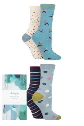 Ladies 4 Pair Thought Mornie Yogi Bamboo and Organic Cotton Gift Boxed Socks