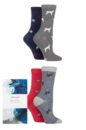 Ladies 4 Pair Thought Tillie Animal Organic Cotton Gift Boxed Socks