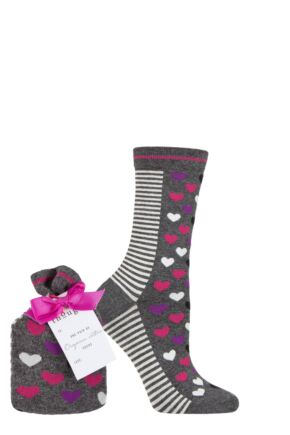 Ladies 1 Pair Thought Rosa Heart Bamboo and Organic Cotton Gift Bagged Socks