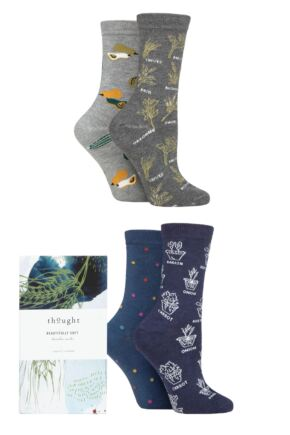 Ladies 4 Pair Thought Marah Allotment Bamboo and Organic Cotton Gift Boxed Socks
