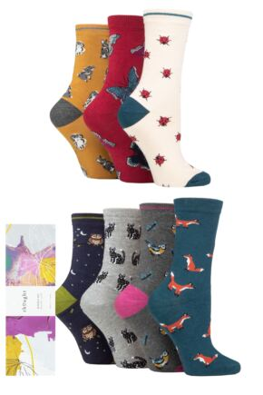 Ladies 7 Pair Thought Annette Animal Bamboo and Organic Cotton Gift Boxed Socks