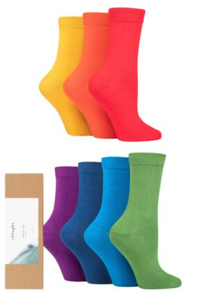 Ladies 7 Pair Thought Colours of the Rainbow Bamboo and Organic Cotton Gift Boxed Socks