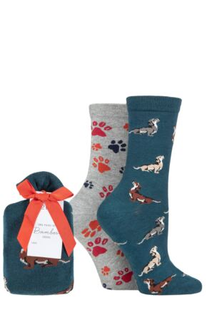 Ladies 2 Pair Thought Zelma Dachshund Bamboo and Organic Cotton Gift Bagged Socks
