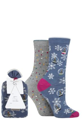 Ladies 2 Pair Thought Harlene Snowglobe Bamboo and Organic Cotton Gift Bagged Socks